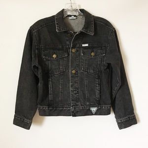Guess Vintage Cropped Black Denim 90s Jacket Small